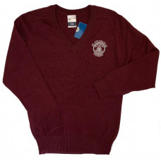 St Athanasius Primary Cotton V-neck Jumper - Burgundy