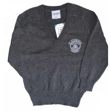 St Athanasius Primary Cotton V-neck Jumper - Grey